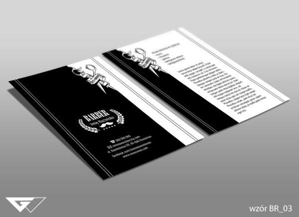 Ulotka dla barbera czarno biała, minimalistyczna