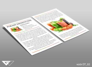 Ulotka dla dietetyka smacznie, zdrowo, kolorowo, warzywa, owoce, koktajle