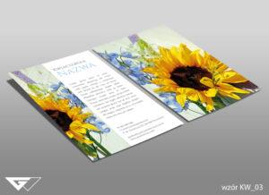 Ulotka dla kwiaciarni piękna, stylowa, kwiaty, słonecznik