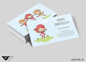 Wizytówki dla animatora zabaw dziecięcych zabawa, dzieci, radość