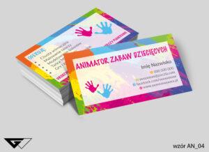 Kolorowe wizytówki dla animatora zabaw dziecięcych radosne, kreatywne