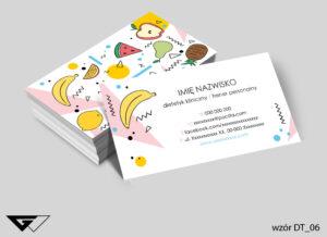 Wizytówka dla dietetyka rysunkowa, kolorowa, owocowa