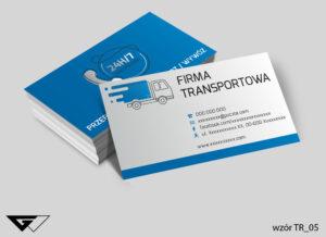 Tanie wizytówki dla firmy transportowej, niebieskie, proste