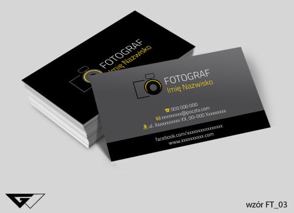 Wizytówki dla fotografa czarne, szare, klasyczne