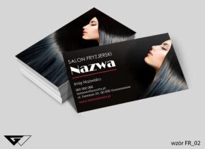 Wizytówki dla fryzjera czarne, ekskluzywne, modne, fryzury