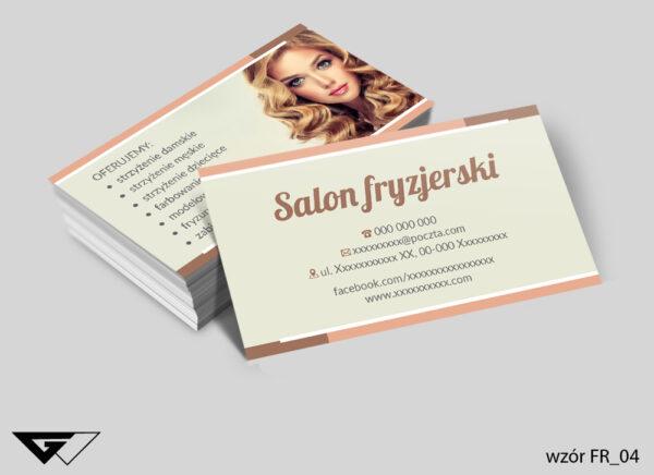 Wizytówki dla salonu fryzjerskiego piękno, uroda, styl