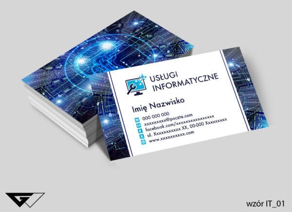 Wizytówki dla informatyka komputer, internet, sieć