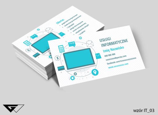 Klasyczne, kolorowe wizytówki dla informatyka