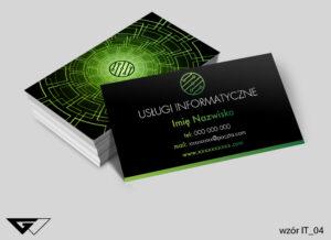 Nowoczesne wizytówki dla informatyka zielone, czarne