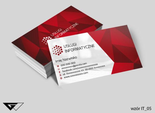 Oryginalne wizytówki dla informatyka, czerwone, tanie