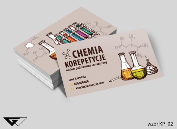 Wizytówki dla korepetytora chemii kolorowe, doświadczenia
