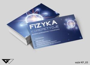 Wizytówki dla korepetytora fizyki wiedza, doświadczenie, pomysłowość