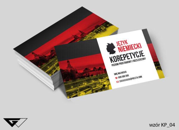 Wizytówki dla korepetytora z języka niemieckiego szybka realizacja, tanie wykonanie