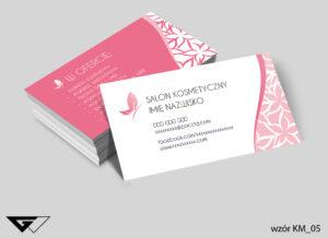 Wizytówki dla salonu kosmetycznego szybka realizacja, prosty projekt