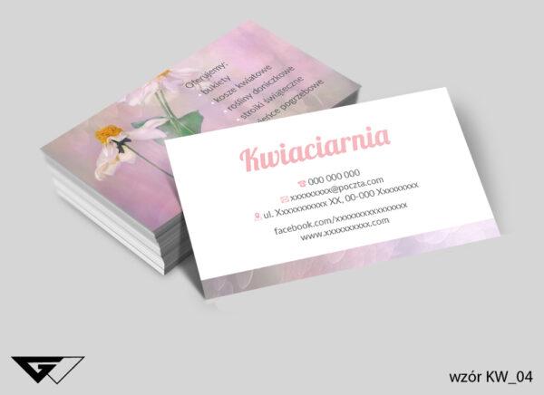 Wizytówki dla kwiaciarni różowe, pudrowe, stokrotka