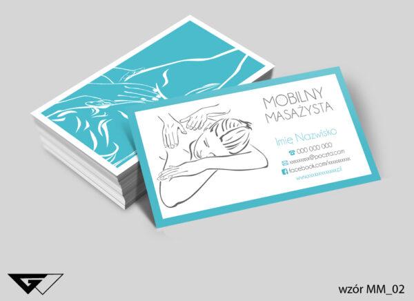 Wizytówki dla mobilnego masażysty rysunkowe, turkusowe