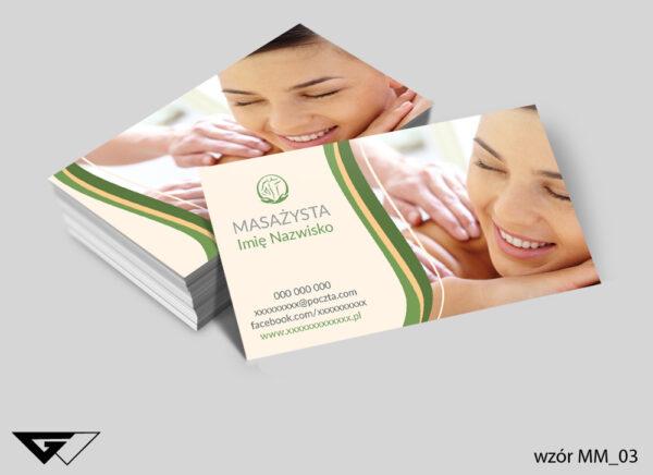 Wizytówki dla masażysty relaks, zdrowie, przyjemność