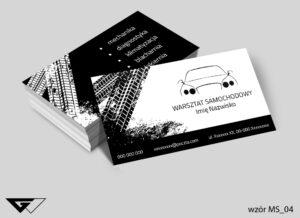 Wizytówki dla warsztatu samochodowego czarno białe, proste