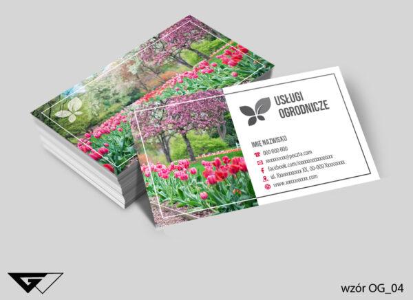 Wizytówki dla ogrodnika tulipany, kwiaty, ogród, wiosennie