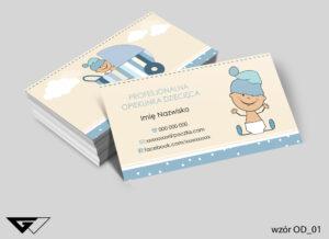 Wizytówki dla opiekunki dziecięcej profesjonalizm, bezpieczeństwo, bobas, dziecko