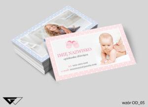 Wizytówki dla opiekunki dziecięcej dzieci, niemowle, troskliwość