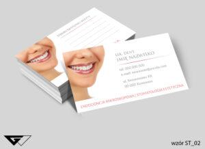 Wizytówki dla dentysty uśmiech, profesjonalizm, szybka i tania realizacja