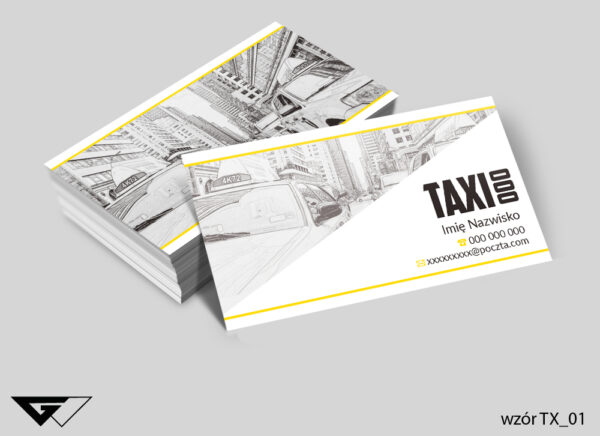 Wizytówki dla taxi rysunkowe, proste, klasyczne