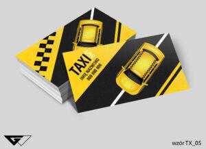 Wizytówki dla przewoźnika taxi czarna, żółta, tanio, przewóz osób, samochód