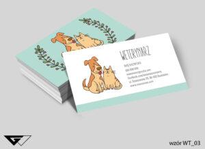 Wizytówki dla weterynarza rysunkowe, obrazki, zwierzęta