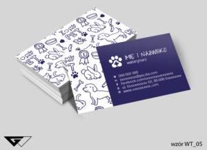 Rysunkowe wizytówki dla weterynarza, białe, granatowe, zwierzęta