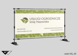 Baner usługi ogrodnicze, rolnicze, rysunkowe, narzędzia ogrodnicze