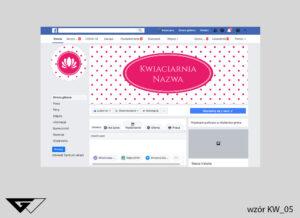 Cover na facebook kwiaciarnia, kropki, jasne tło, szybka realizacja