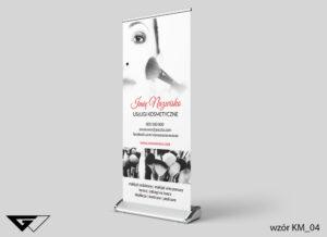 Rollup usługi kosmetyczne, pędzle,zdjęcie, szyba realizacja_wizualizacja
