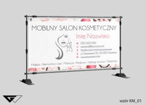 Baner mobilny salon kosmetyczny, obrazek, kosmetyki, rysunek, szybka realizacja_wizualizacja