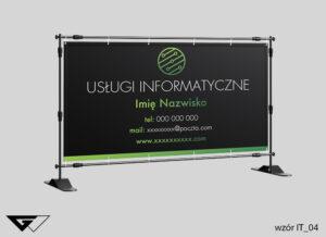 Baner sługi informatyczne, zielony, czarny, indywidualny projekt_wizualizacja