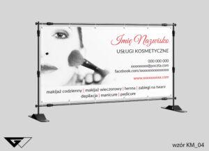 Baner usługi kosmetyczne, pędzle,zdjęcie, szyba realizacja_wizualizacja