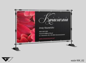 Baner elegancki kwiaciarnia, klasyczne, czarne, czerwone kwiaty, szybka realizacja