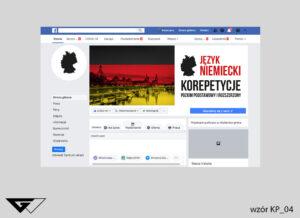 Tło na facebook nauka języka niemieckiego, korepetycje szybka realizacja, tanie wykonanie